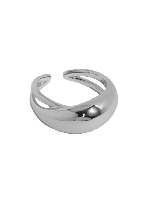 Platinum [14 adjustable] 925 Sterling Silver Irregular Minimalist Band Ring